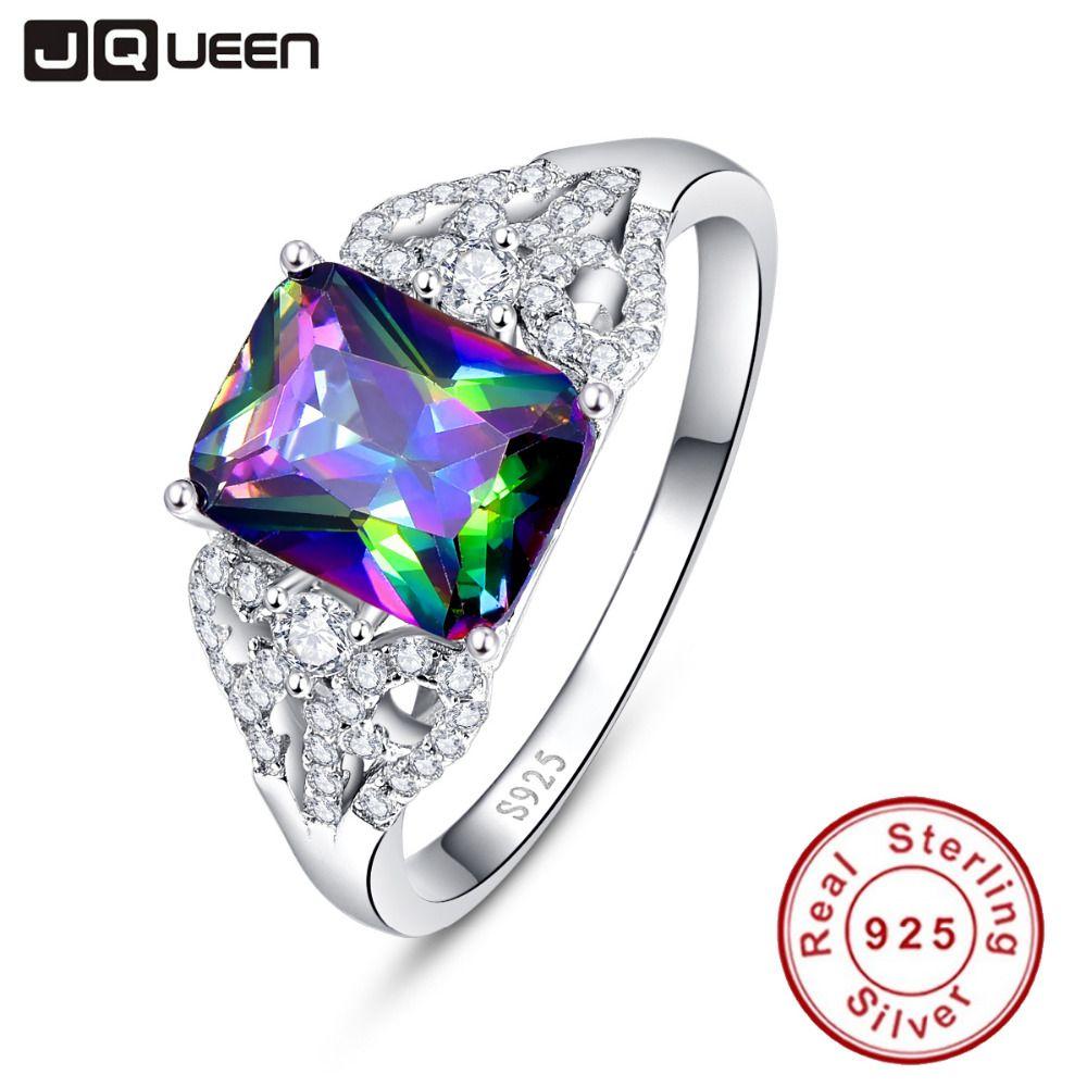 Émeraude chaude coupe 3ct feu mystique naturel arc-en-ciel topaze bague de fiançailles véritable 925 anneaux en argent Sterling pour les femmes
