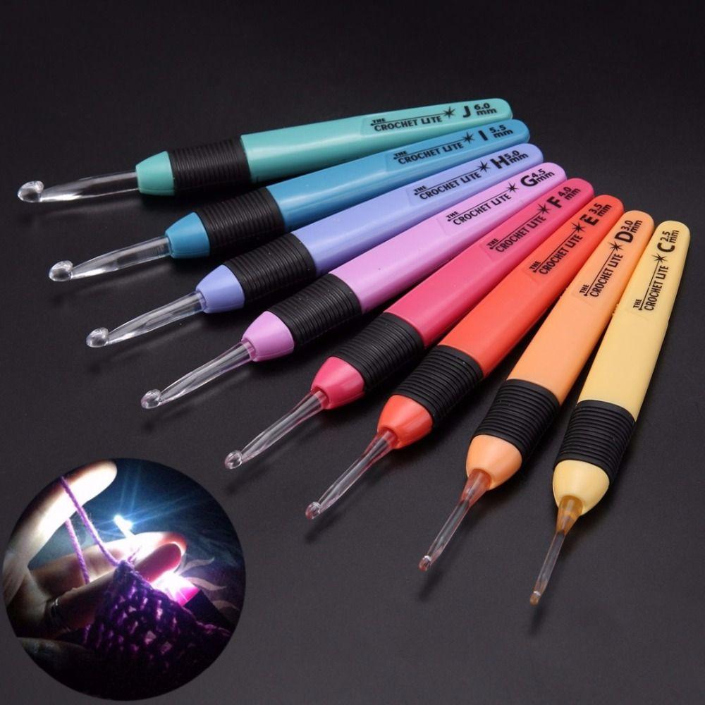 8pcs 8 Sizes Crochet Hook Set <font><b>Practical</b></font> Sweaters Knitting Needles Plastic Sewing Tools Weave Craft With LED Light Style Mayitr