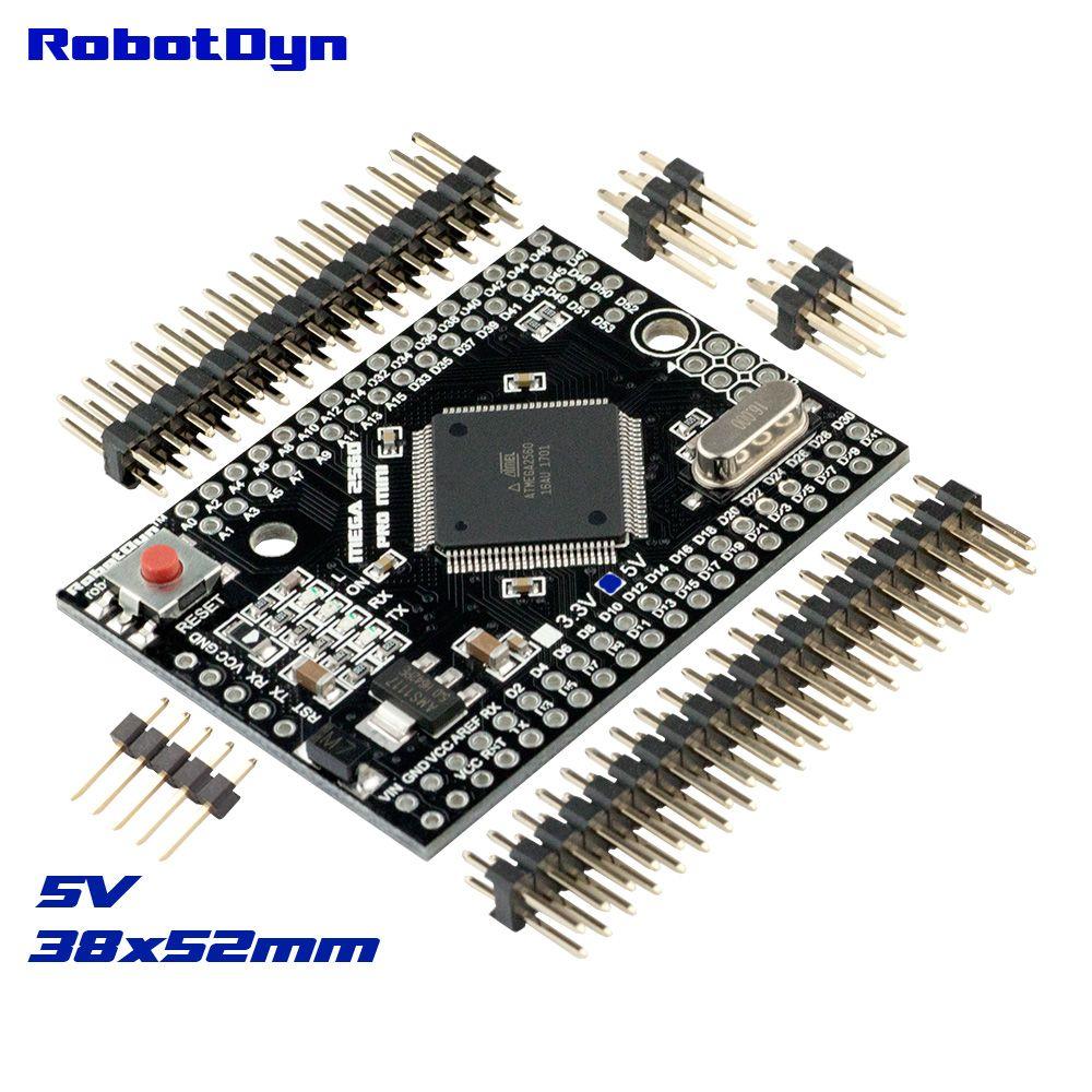 Mega 2560 PRO MINI 5 V, ATmega2560-16AU, avec tenailles mâles. Compatible pour Arduino Mega 2560.