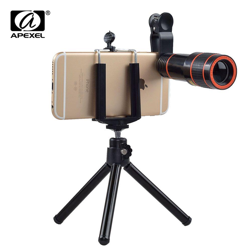 12X Zoom Optique Téléobjectif Pas de Coins Sombres Mobile Téléphone Appareil Photo objectif de Télescope trépied pour l'iphone 6 7 Samsung smartphone