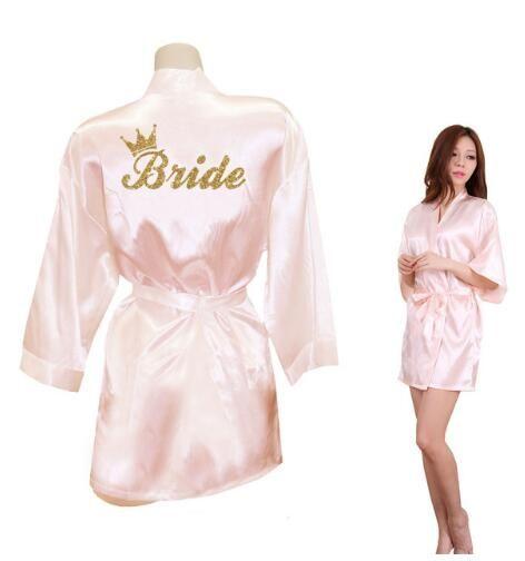 Mariée couronne équipe mariée doré paillettes imprimé Kimono Robes Faux soie femmes Bachelorette mariage préparation livraison gratuite