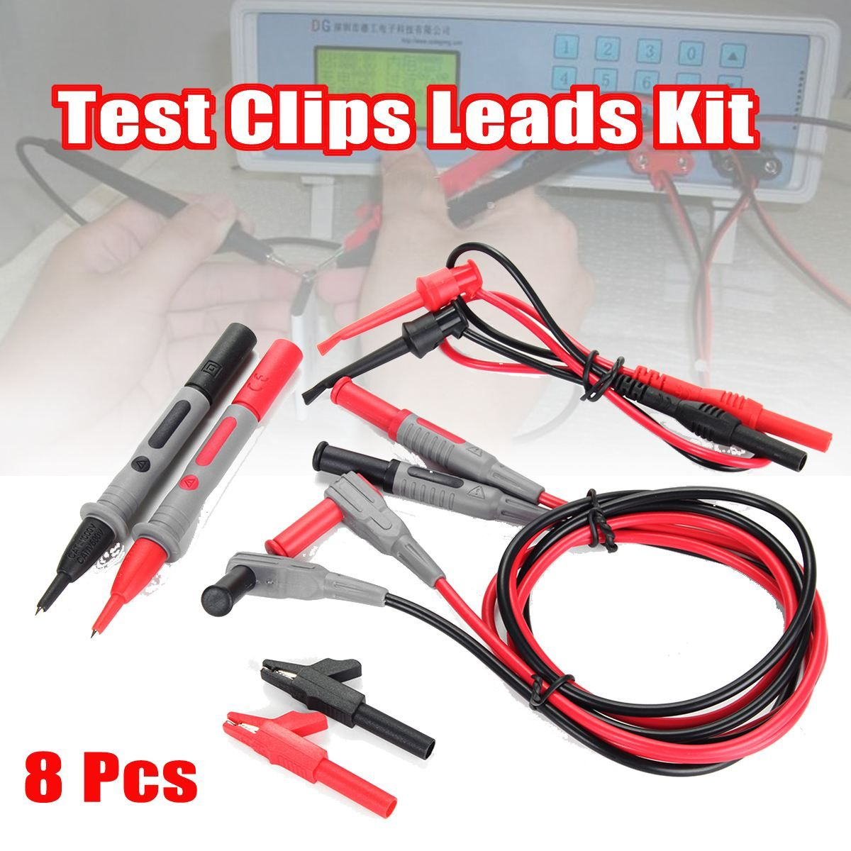 Set Of 8 Electronic Specialties Test Clips Leads Kit Banana Tester Probe Kit For Fluke Multimeter