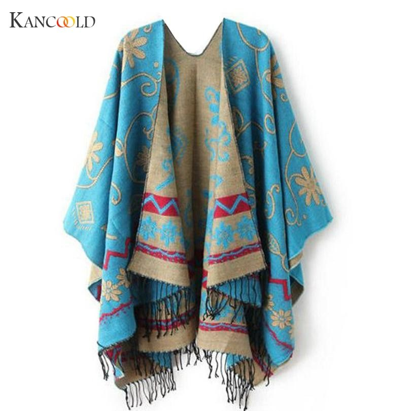 2017 New Autumn Winter Women Outwear Oversized Knitted Cashmere Poncho Capes Duplex Shawl Cardigans Sweater Coat Sueter GBY7