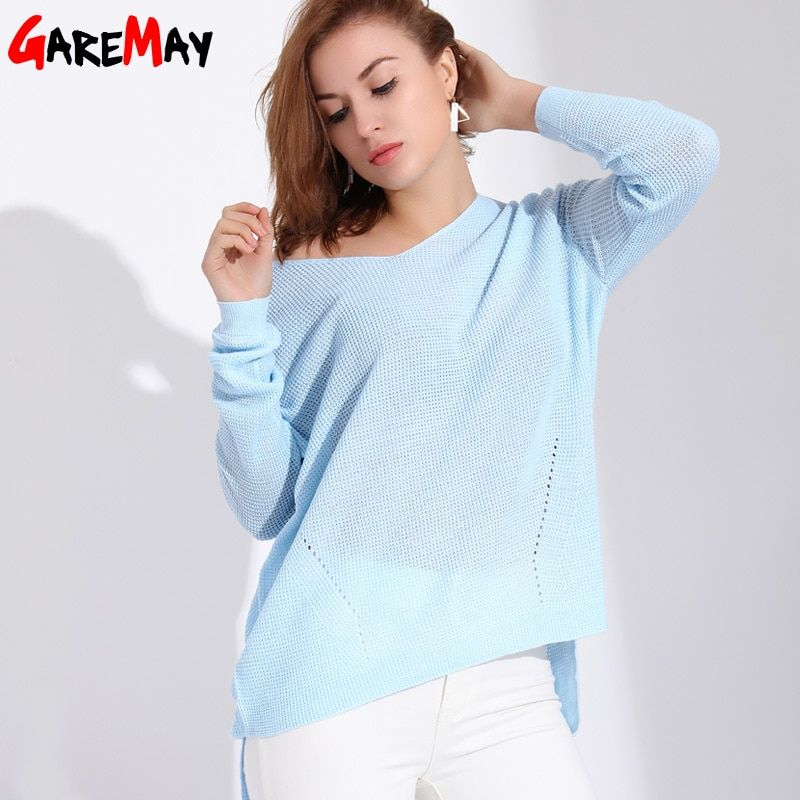 Garemay Women Sweaters And Pullovers Long Knitted Female Sweater V Neck Knitwear Long Sleeve Jersey Off Shoulder Sweaters <font><b>Pull</b></font>