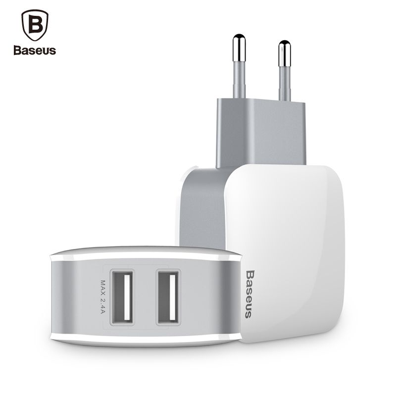 Baseus Dual USB Charger 2.4A Fast Charging Travel Wall Charger Adapter EU US Plug Mobile Phone Charger For iPhone Samsung Tablet