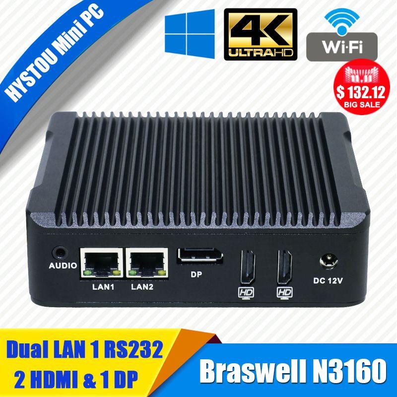 Hystou Mini PC Windows 10 Intel NUC N3160 Fanless Barebone Mini Computer 2 Lan HDMI 4K HTPC TV Box Nano Industrial Mini PC VESA