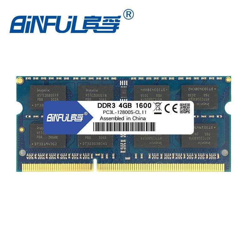 BINFUL new brand DDR3L 4GB 8GB 1600MHz PC3L-12800 memoria ram low <font><b>voltage</b></font> 1.35v for laptop computer notebook sodimm