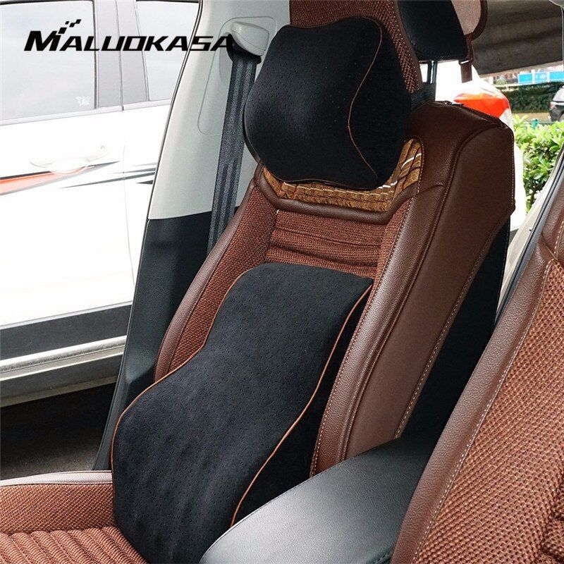 Office Car Auto Seat Supports Back Cushion And Headrest Neck Pillow Memory Cotton Foam Lumbar Back Support Driver Spine Pain