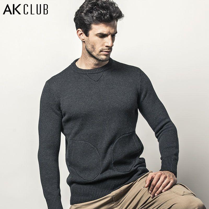 AK CLUB Marca Suéter de Cuello Redondo Suéter de Lana Patchwork 1.36 kg Manopla Bolsillos Hombres Suéter Del O-cuello de Lana de Punto Suéter 1403024