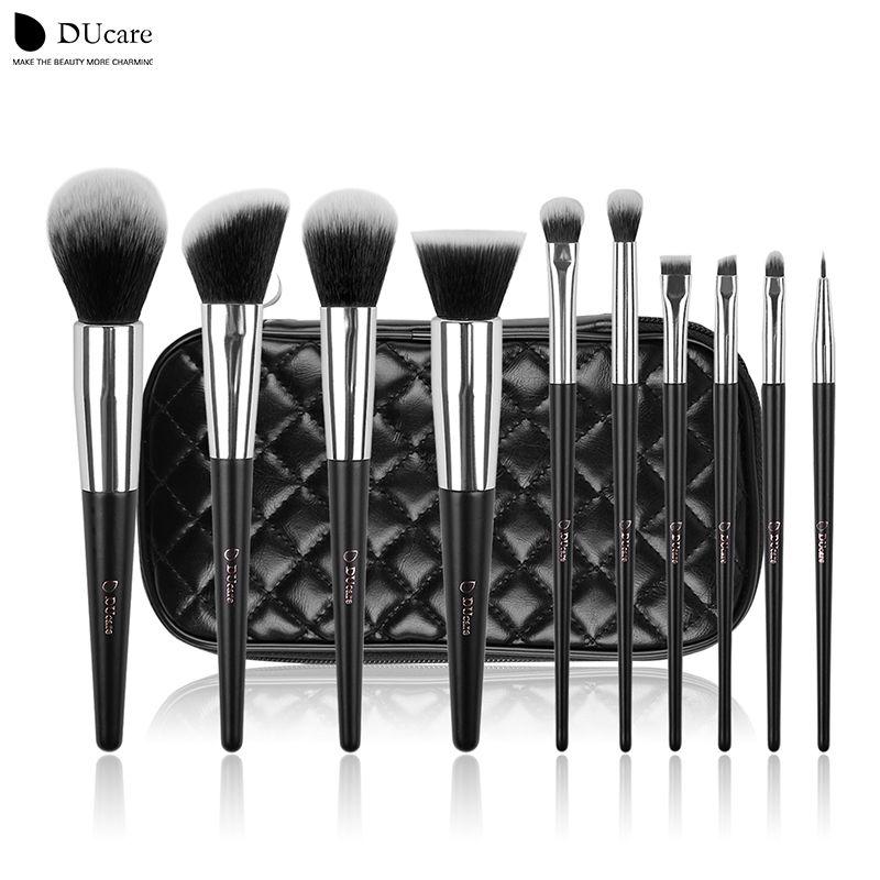 DUcare pinceaux de maquillage 10 pièces marque professionnelle pinceaux de maquillage ensemble de brosse de haute qualité avec sac noir beauté pinceaux essentiels