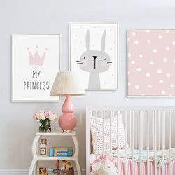Lovely Nordic Love Crown Rabbit A4 A3 Canvas Painting Art Print Poster Picture Wall Baby Room Children Bedroom Home Decoration
