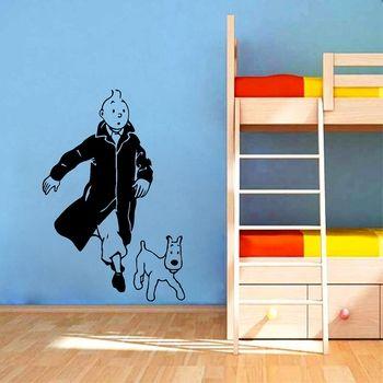 Tintin With Dog Cartoon Vinyl Wall Sticker Children's Room Wall Art Mural Decals Tintin Vinyl Poster Wall Art Decor