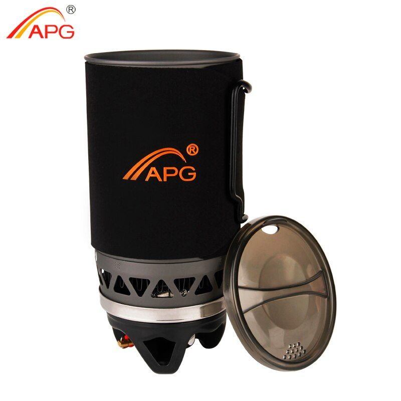 APG Portable Cooking System Outdoor Hiking Stove Heat Exchanger Pot Propane Gas Burners 1400ml Camping Equipment Oven