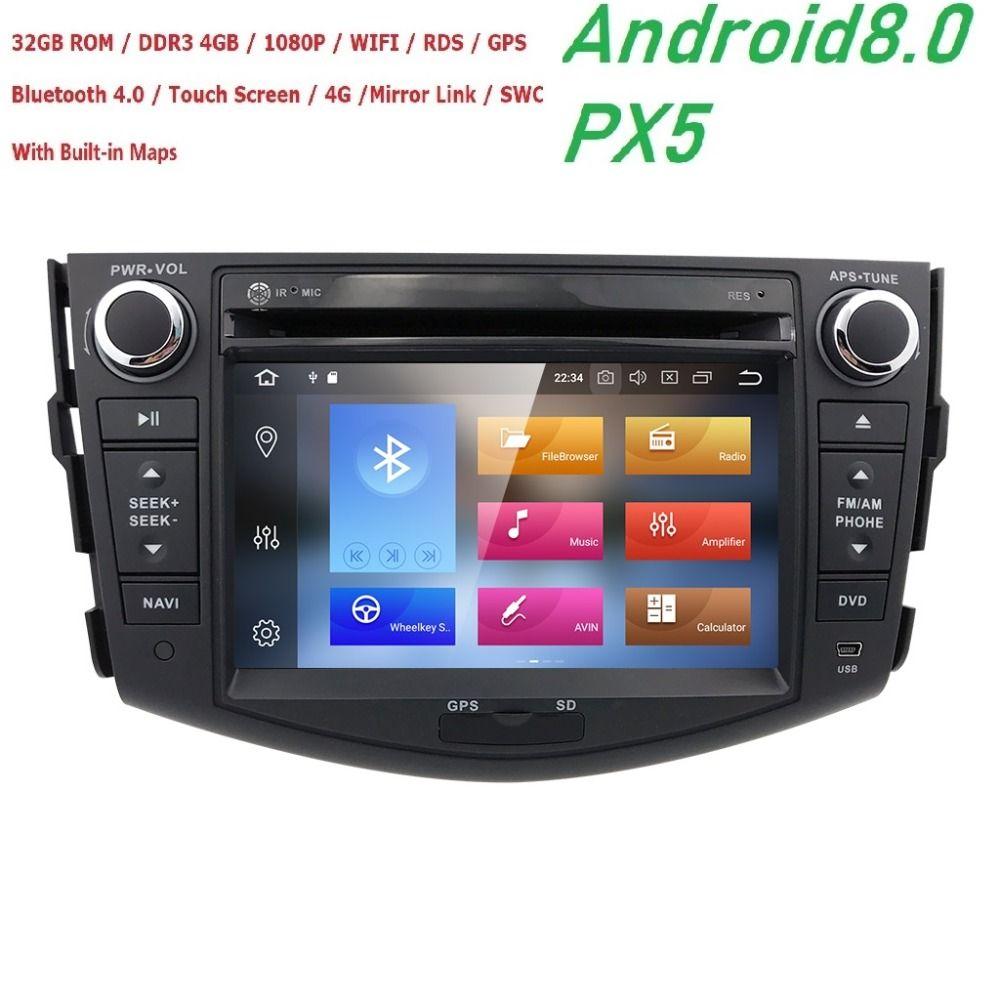 Hizpo NEW !!! PX5 Android 8.0 car dvd player for Toyota RAV4 Rav 4 2007 2008 2009 2010 2011 2 din 1024*600 car dvd gps wifi rds