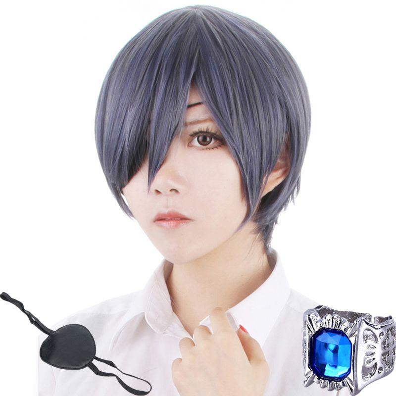 Perruque de Costume Cosplay gris bleu résistant à la chaleur + Patch oculaire + anneau