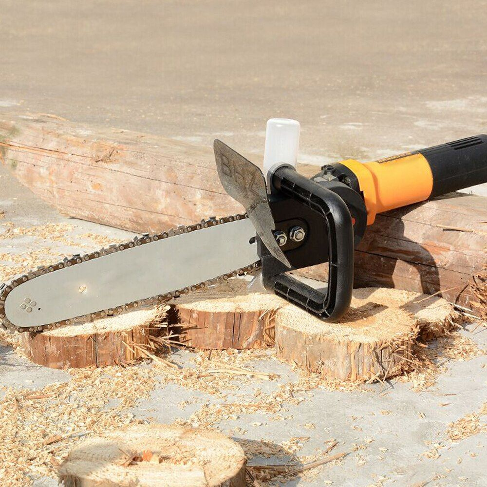 Electric DIY Chain Saw Converter Chainsaw Bracket Tree Felling Saw Changed <font><b>Angle</b></font> Grinder into Chain Saw for M10 Woodworking Tool