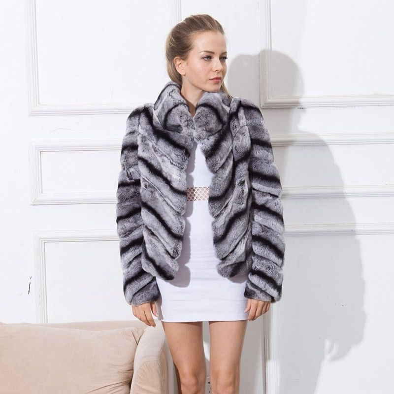Short real chinchilla rabbit Rex rabbit fur coat