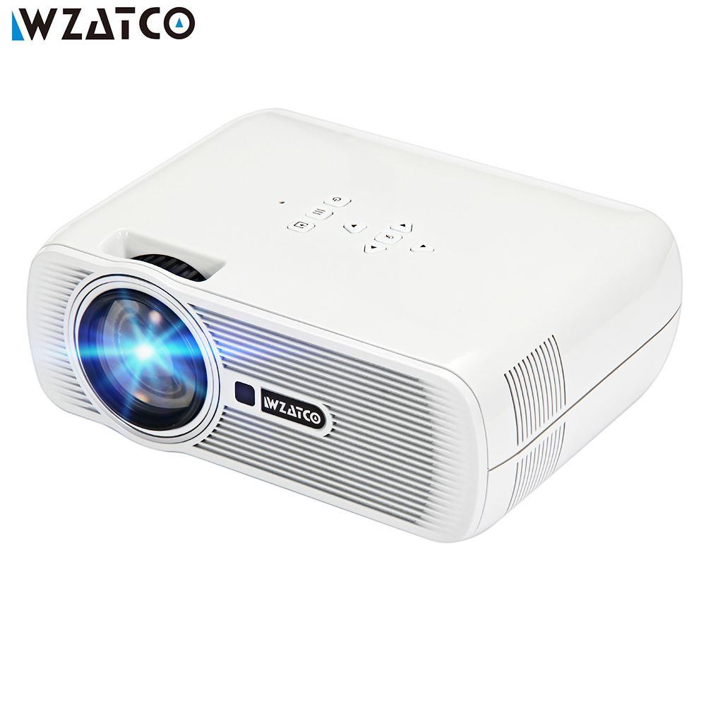 WZATCO CTL80 LCD Projector Upgrade Android 7.0 WIFI Portable LED TV Projector 2200lumens 3D Home Theater Full HD 1080p 4K Beamer