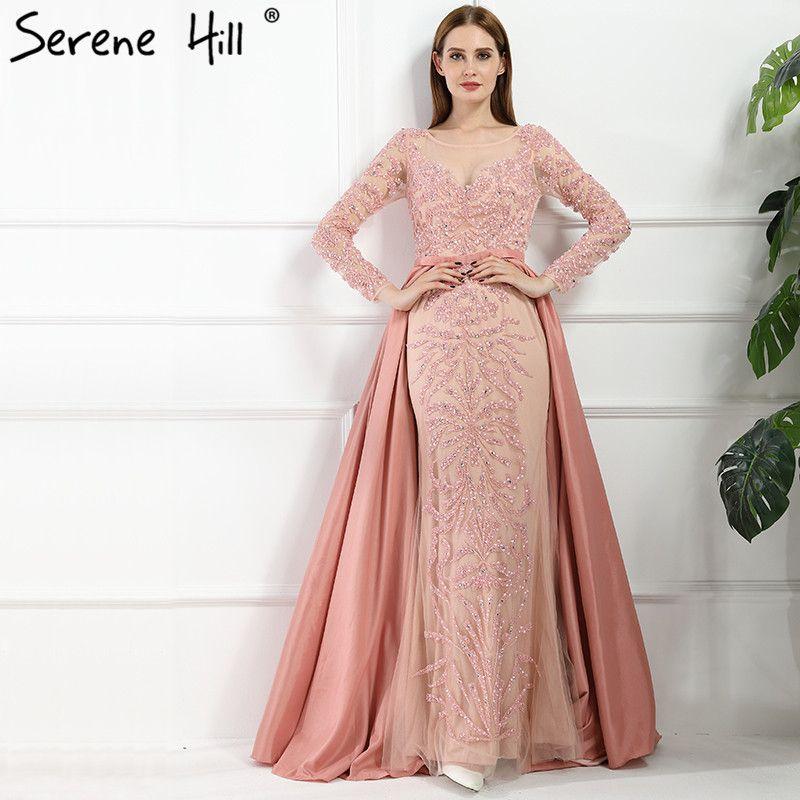 Luxury Dubai Arabic Robe De Soiree Evening Dresses 2018 New Long Sleeve Prom Dress Party Crystal Beaded Vestido De Festa BLA6172