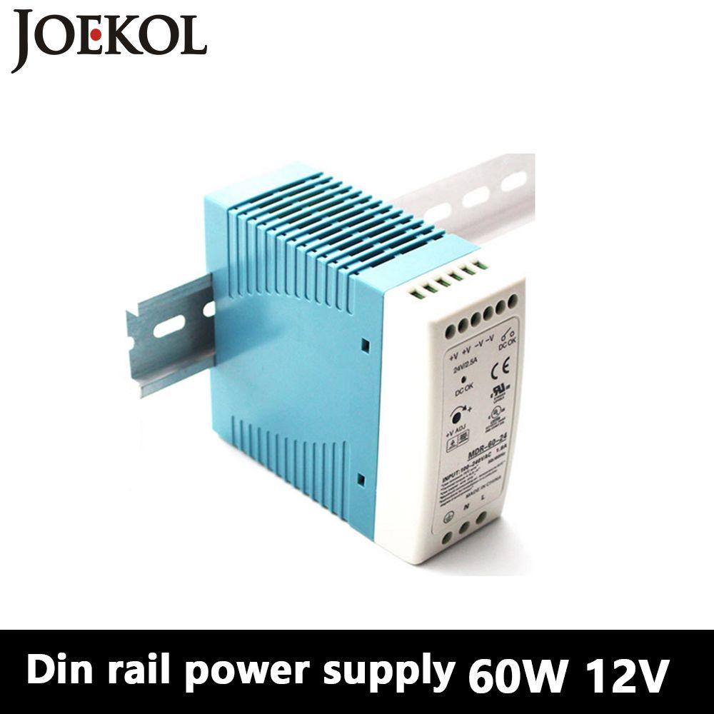 MDR-60 Din Rail D'alimentation 60 w 12 v 5A, alimentation à découpage AC 110 v/220 v Transformateur À COURANT CONTINU 12 v, convertisseur de courant alternatif