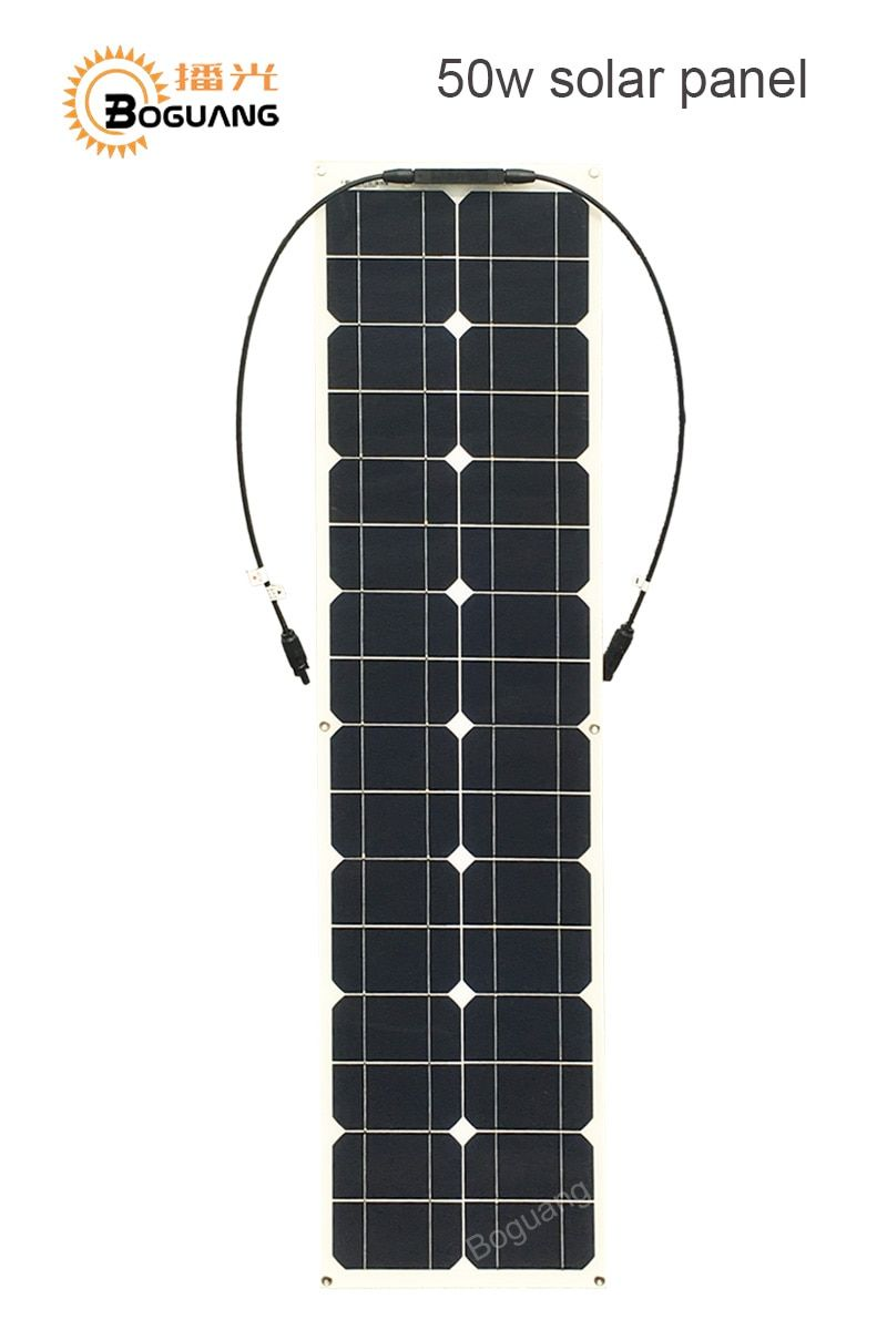 Boguang 50w solar panel Monocrystalline silicon cell module DIY kit system 12v battery MC4 connector cable RV yacht power charge
