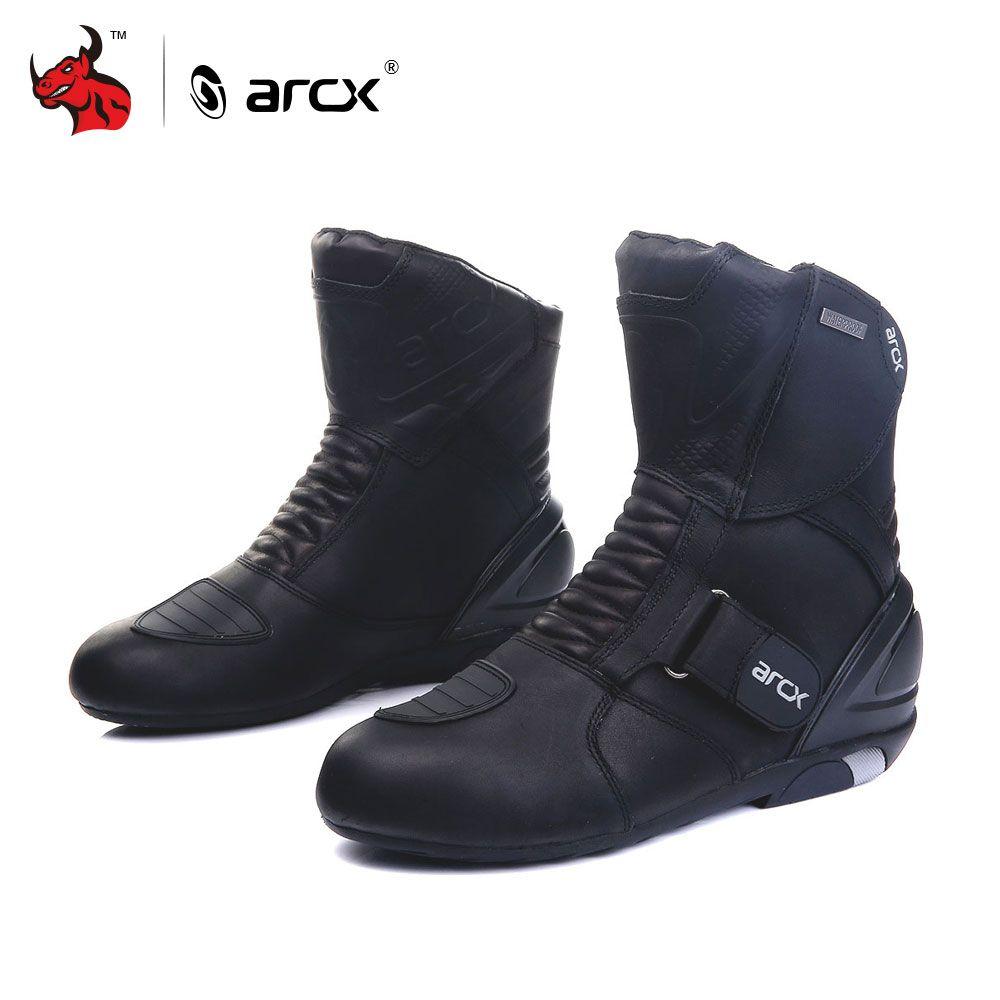 ARCX Men's Motorcycle Boots Genuine Cow Leather Waterproof Street Moto Racing Boots Motorcross Boots Motorbike Boots