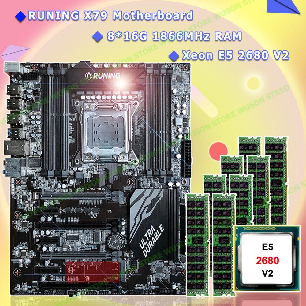 New!Runing Super ATX X79 LGA2011 motherboard 8 DDR3 DIMM slots max 8*16G memory Xeon E5 2680 V2 CPU 128G(8*16G)1866MHz DDR3 RECC