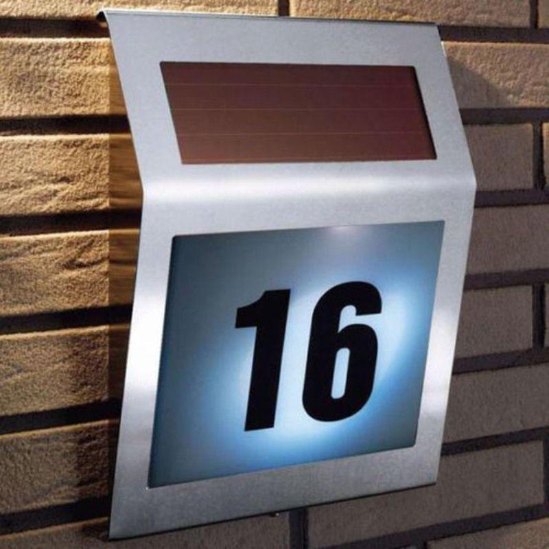 3 LED Outdoor Solar Doorplate Light Stainless Solar Powered Illumination Wall Lamp House Street Alphanumeric Number Light