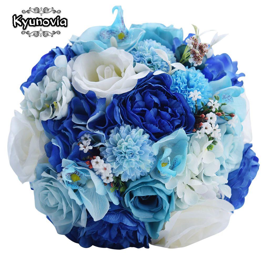 Kyunovia menthe bleu mariage Bouquet artificielle soie mariée Bouquet buque de casamento Rose mariage fleur grappes Bouquet FE57