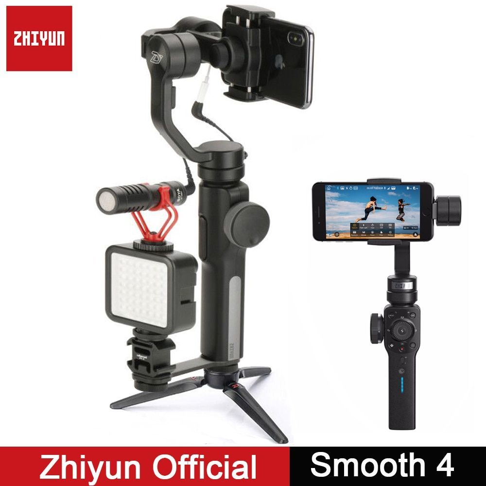 Zhiyun Cardan Lisse Q Lisse 4 3-Axis Cardan Vlogging Stabilisateur w Boya BY-MM1 microphone pour iPhone Android Gopro Sport Caméra