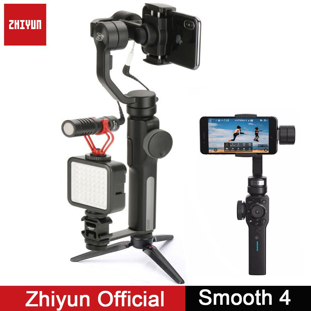Zhiyun Gimbal Smooth Q Smooth 4 3-Axis Gimbal Vlogging Stabilizer w Boya BY-MM1 microphone for iPhone Android Gopro <font><b>Sport</b></font> Camera