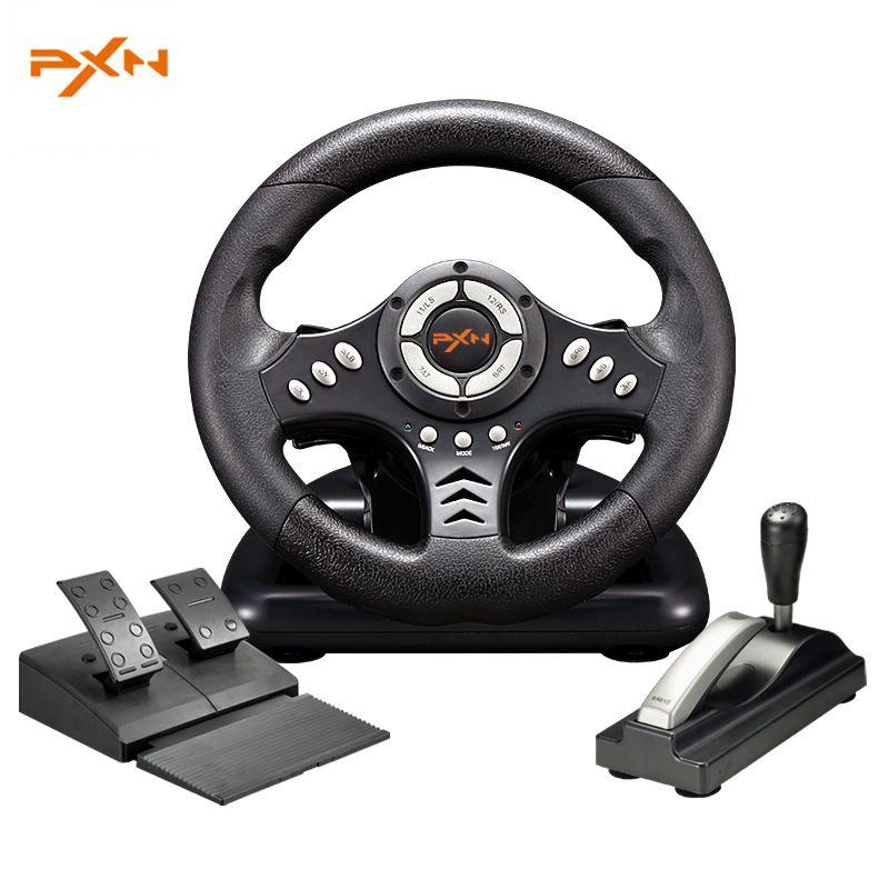 PXN v18s ilusorio USB vibración cable Motores juegos de carreras volante con freno de mano Pedales para pc ordenador juego de carreras