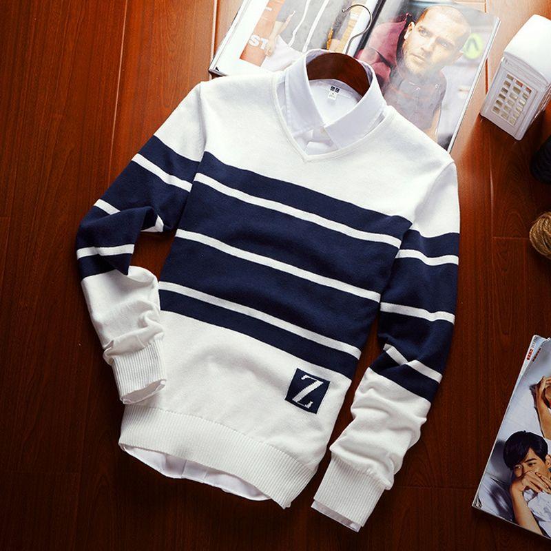 Свитер мужской Осенняя одежда 2016 года новая мужская Slim v-образным вырезом в полоску цвет шерсти для отдыха мужская одежда брендовые свитера ...