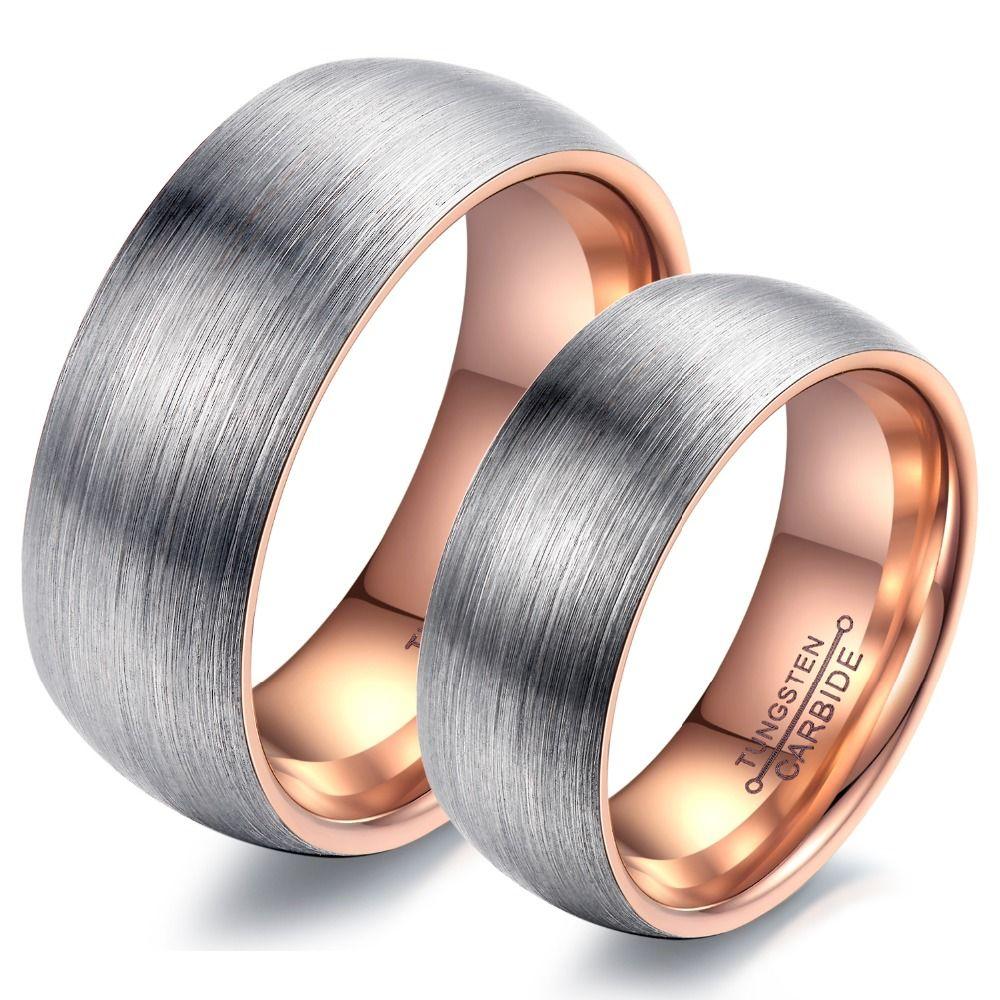 Hommes femmes Couple anneaux tungstène acier mariage Engagement promesse bande Rose or ou noir couleur haute qualité ne se décolore jamais WJ247