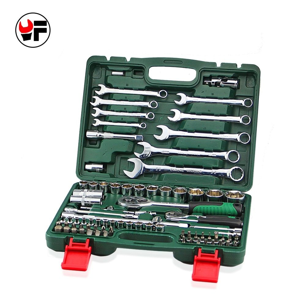 Free Shipping 82pcs Tool Set Ratchet Wrench Tool Screwdriver Bit for Car Repair Tools Car Wrench 1/2 Socket Wrench A Set of Keys