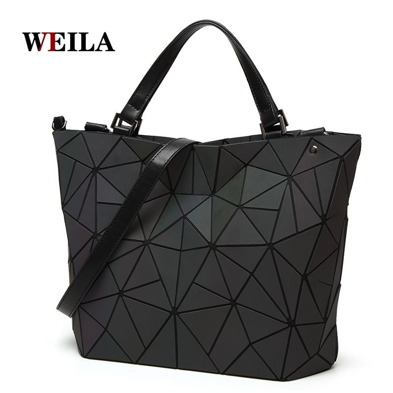 Luminous bag Women Geometry Diamond Tote Quilted Shoulder Bags Laser Plain Folding Handbags Hologram Free Shipping