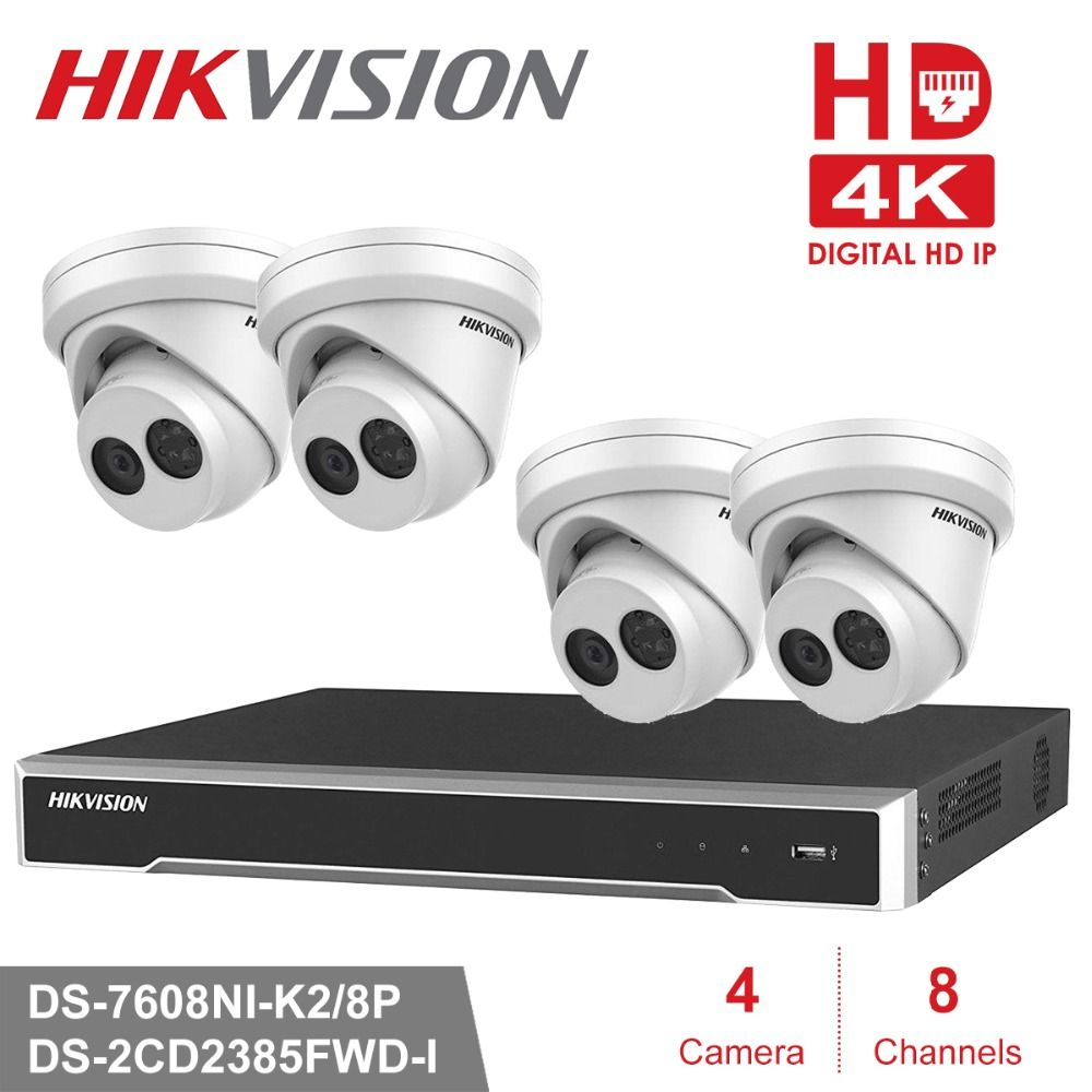 Hikvision 4K CCTV Camera System 8CH POE NVR Kit 8.0 MP Outdoor Security IP Camera Day/Night P2P Video Surveillance System KIT