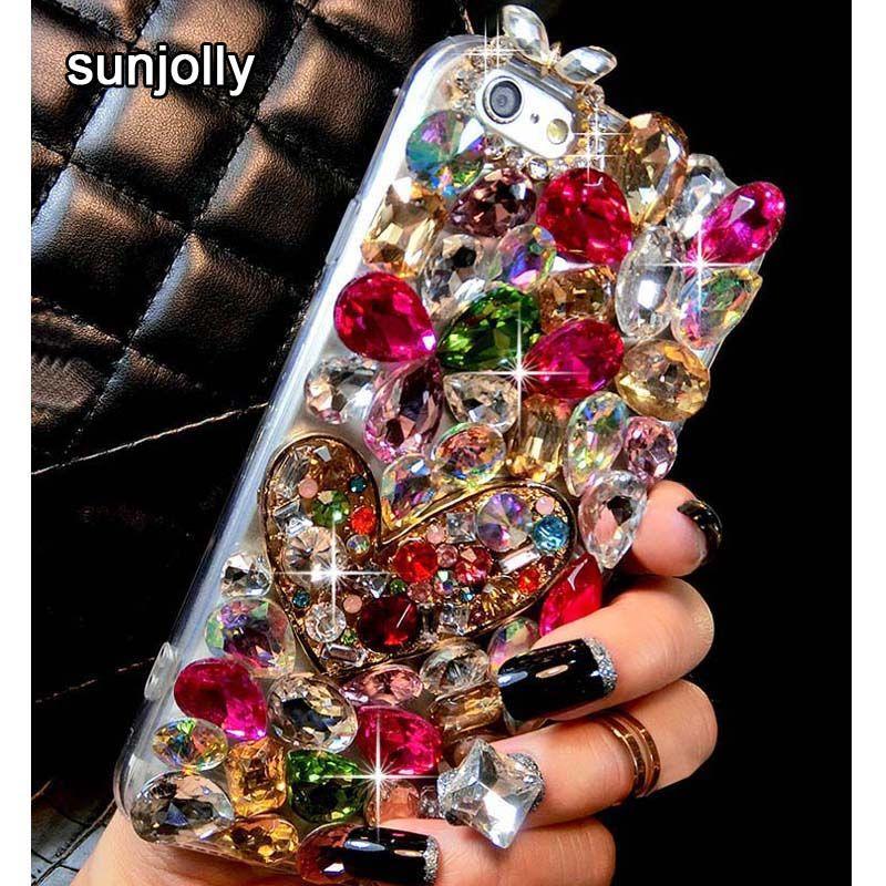 De luxe 3D Couleur Diamant Cas Strass Bling Couverture de Téléphone Cristal funda coque pour iPhone XS MAX XR X 8/7 Plus 6 s/6 Plus 5S SE 5C