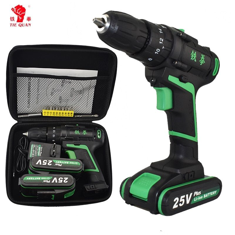 New Style 25V Impact Electric Screwdriver Home Diy Power Tools Woven Bag Hand Drill Battery Drill Electric Cordless Hammer Drill