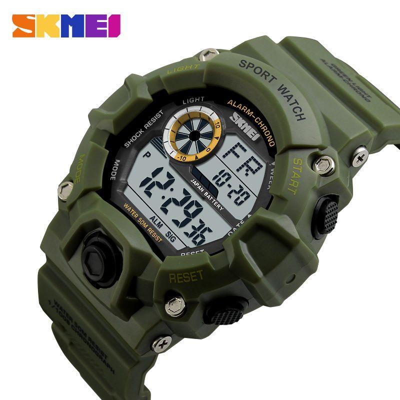 SKMEI montre de Sport en plein air hommes réveil 5Bar étanche montres militaires affichage de LED montre numérique de choc reloj hombre 1019