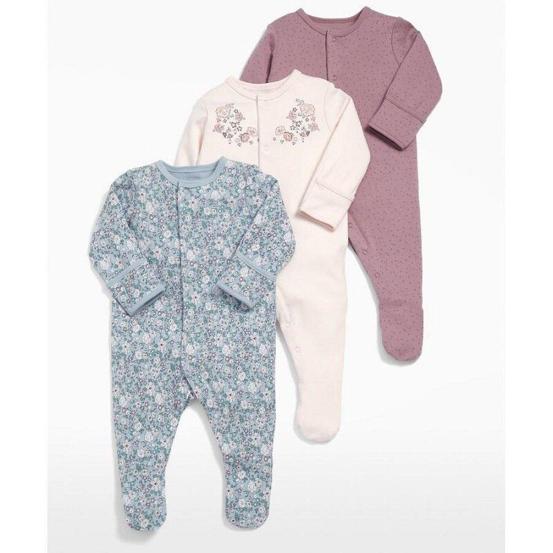 Baby Girl Romper 3pcs Newborn Sleepsuit Flower Baby Rompers 2018 Infant Baby Clothes Long Sleeve Newborn Jumpsuits Baby Pajamas