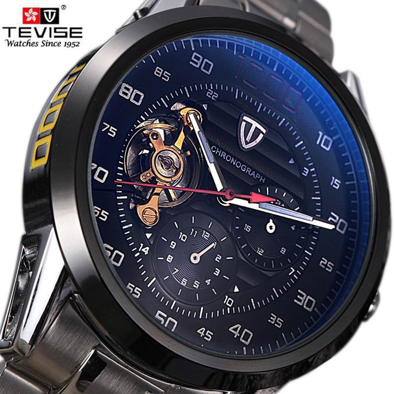 mens watches top brand luxury TEVISE Automatic <font><b>Winding</b></font> Tourbillon Mechanical Watch Sport Military Relogio Automatico Masculino