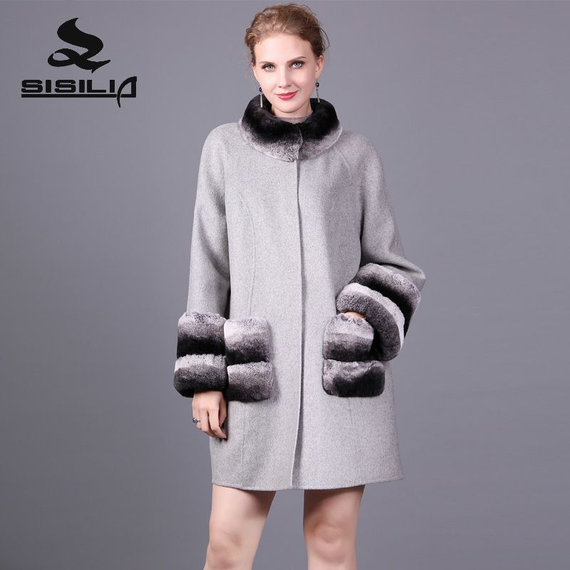 SISILIA 2017 New Cashmere Coat With Rex Rabbit Fur Of Women Winter Genuine Leather Fur Coats Good Fur Jackets For Female