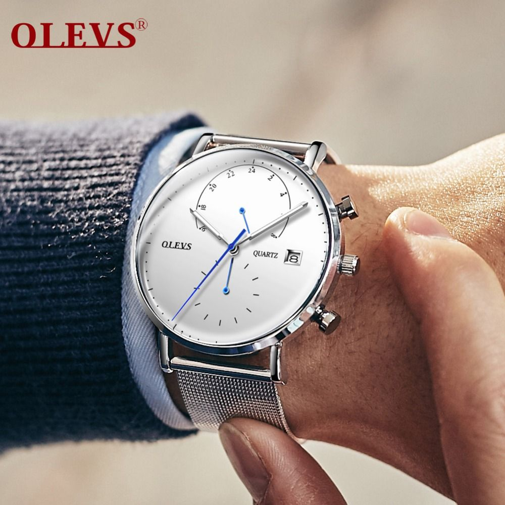 relogio masculino OLEVS Luxury Brand sport watch silver wristwatch mens Date Business Men's Quartz Watch erkek kol saati clock