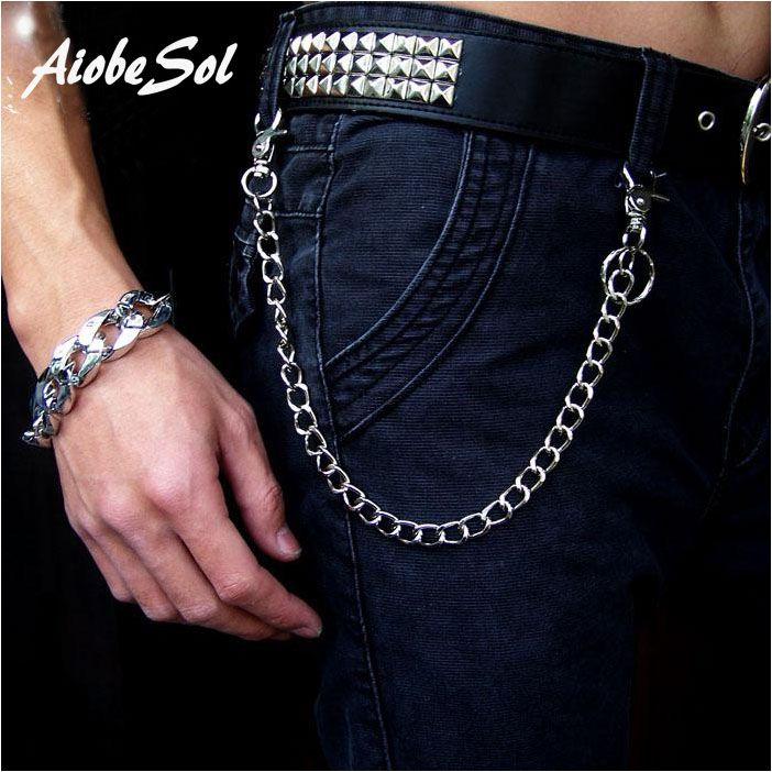 Mode Punk Hip-Hop À La Mode Ceinture Taille Chaîne Mâle Pantalon Chaîne Chaude Hommes Jeans Argent Métal Vêtements Accessoires Bijoux