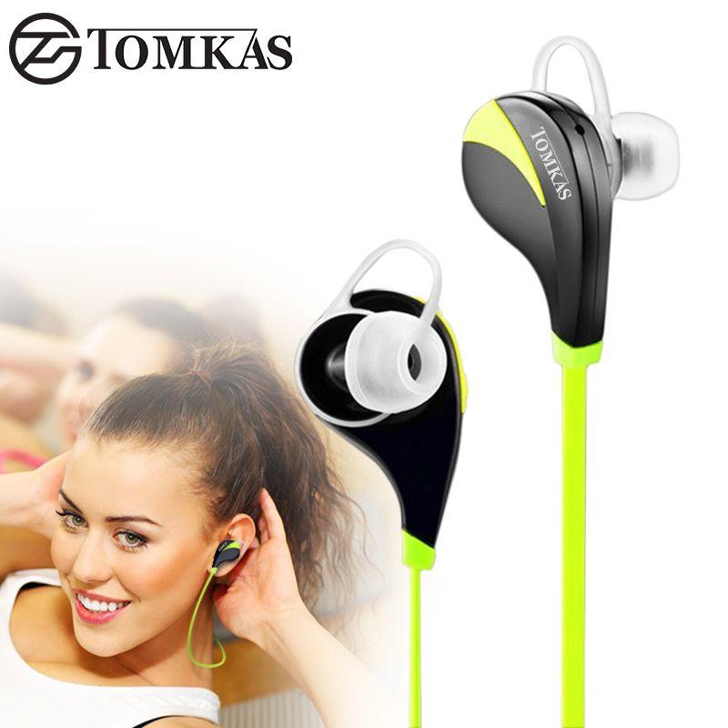 TOMKAS Bluetooth 4.0 Sport Earphone Wireless Headset Stereo Mic Music Hands Free In-ear Bluetooth Earphone For iPhone 6 7 Phone