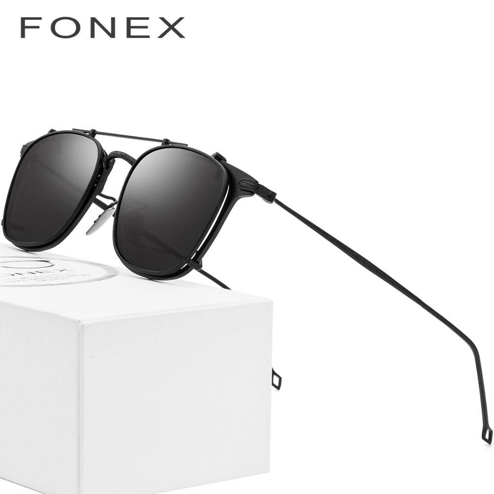 B Pure Titanium Glasses Frame Men Clip on Polarized Sunglasses Prescription Sun Glasses for Women Square Myopia Optical Eyewear