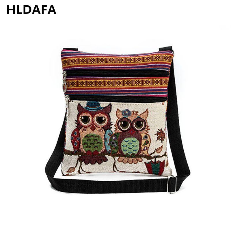 2018 Double Zipper Female Mini Flap Shoulder Handbags girls Cartoon Owl Printed Canvas Bags Women Small Shoulder Messenger Bags