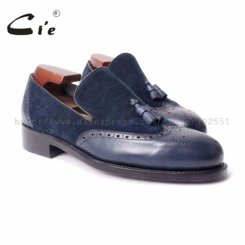 cie Free Shipping Handmade men's Round Toe Tassel Slipper on Leather Goodyear Welt Craft Shoe Color Navy Matching No.Loafe46