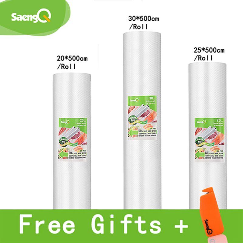SaengQ sacs sous vide alimentaire scelleur sous vide sac d'emballage sous vide emballeur sacs de rangement aliments frais Long maintien 12 + 15 + 20 + 25 + 30 cm * 500 cm